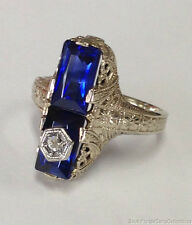 Estate Jewelry Vintage Sapphire & Diamond Filigree Ring 14K White Gold Size 5