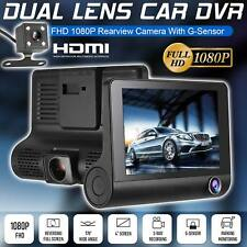 "HD Car DVR 1080P 4"" Dual Lens Rearview Video Dash Cam Recorder Camera G-sensor"
