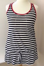 *NEW* George Navy White Red Stripe Vest Top Size 16  #JT6