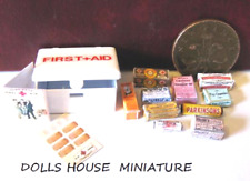 BATHROOM  ACCESSORIES DOLLS HOUSE MINIATURES first aid tin VINTAGE STYLE