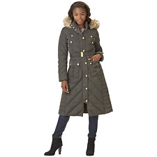 Rocawear Womens Plus Belted Hooded Puffer Coat Olive 1XL #NJHSU-G11