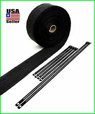 "BLACK EXHAUST TURBO HEADER WRAP 2"" X 50 FT ROLL BLACK STAINLESS LOCKING TIES"