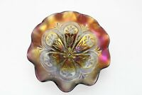 "Dugan Flowers and Frames 8"" Ruffled Footed Carnival Glass Bowl Spectacular!"