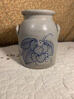 1990 Salmon Falls Salt-Glazed Stoneware Strawberry Crock Dover, NH