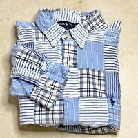 RALPH LAUREN Patchwork Blue Madras Plaid Button Down Shirt I Size Large I BLAIRE