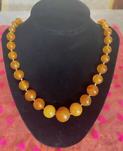 "S21 J7 Vintage 26"" Natural Baltic Butterscotch Amber Bead Necklace 45 Gr"