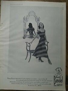 1947 women's Henri Bendel young-timers women's striped dress peekaboo back ad