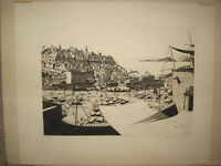 Allan McNab Rare 1926 Etching of Tangiers Listed British Artist and Designer