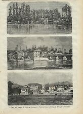 Stampa antica SRINAGAR serie di tre vedute India 1877 Old Antique print