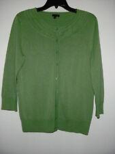 Women's TALBOTS Green Scoop 3/4 Sleeve Button Down Cardigan M