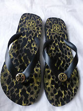 TORY BURCH Leopard Flip Flop Sandals Black Size 8 New Without Box