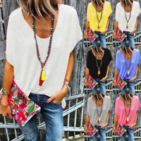 Womens V neck Holiday Shirt Baggy Ladies Loose Blouse Tee Plain Sweatshirt Tops
