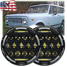 2x 7inch 150W Total LED Headlights Hi/Lo DRL For International Scout II 73-80