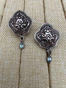 STERLING SILVER SAJEN Vtg Shield Earrings Clip Blue Topaz Dangle 18gr