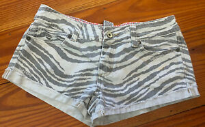 BILLABONG Womens Size 1 Cut Off Low Rise Mini Shorts Tiger Print Booty
