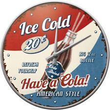 Ice Cold Cola Nostalgie Wanduhr Glas,31 cm Wall Clock,Neu