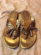 Hush Puppies Women Shoes Size 7M Brown Leather Flip Flops (box)