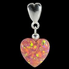 Alducchi Pink Rainbow lab Opal Puffy Heart .925 Silver European Dangle Charm