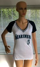 Womens Seattle Mariners Short Sleeve Blue White Athletic Shirt MLB Top Small