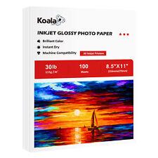 Koala 100 Sheets 8.5x11 Premium Glossy Inkjet Printer Photo Paper 30lb Epson HP