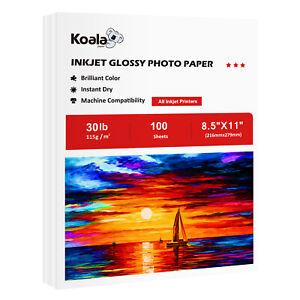 Koala Glossy Inkjet Printer Photo Paper 115g 8.5x11 100 Sheets 30lb DIY Chip Bag