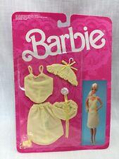 Barbie Fancy Frills 3183 Lingerie Outfit 1986 Yellow Slip Top Panties Shoes MIP