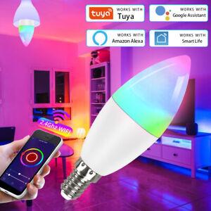 E14 7W TUYA WiFi APP Smart Candle Bulb RGB+CW+WW Dimmable Lamp For Alexa/Google