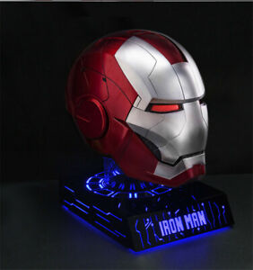 Iron Man MK5 Helmet With Display Stand Base 7 Colors Light Model AutoKing Mask