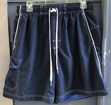 Speedo Men Swim Trunks Sz L Blue Elastic String Waist Mesh Lined Shorts Pockets