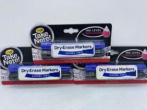 3 Packs Crayola Chisel Tip Dry Erase Markers Total of 3 Black & 3 Blue Markers