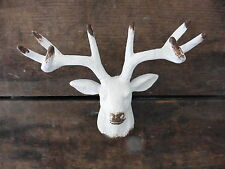 White DEER Head Metal KNOB - Drawer Pull - Cabinet Mancave Animal Home Decor