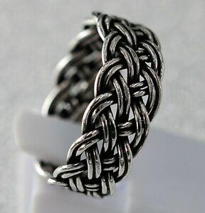 massiv Sterling Silberring 925 Flechtring Keltisch Stil Gothic offen/verstellbar