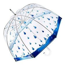 Clear Bubble Umbrella Transparent with Rain Drop Print Dome Shaped Canopy