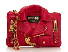 $1395 MSRP AW15 Moschino Couture Jeremy Scott Red Biker Jacket Clutch Bag CUTE!