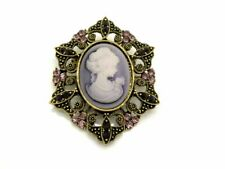 Purple Cameo Crystal Brooch