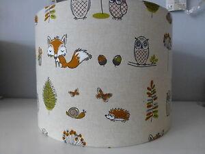 Fryetts Woodland Animals ~ Fox*Owl*Hedgehog*Butterfly fabric Lampshade~ 30cm Dia