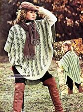 FUNKY WOVEN PONCHO - 8ply or DK - COPY Ladies crochet pattern