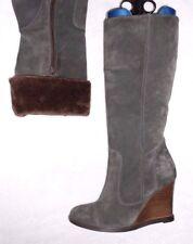 SAN MARINA bottes zippés cuir daim gris P 37 = 36 1/2  TBE