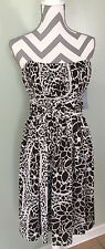 NWT London Times Maggy London Brown White Floral Strapless Formal Dress Size 6