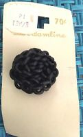 "ANTIQUE/VINTAGE STREAMLINE 1 1/4"" BLACK ROPE LOOK BUTTON EXCELLENT CONDITION"
