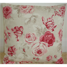 "20"" Rose Quartz Cushion Cover Pink and Beige Roses Floral Flowers"