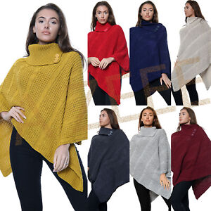 Women's Cable Knitted Poncho Winter 3 Button Ladies Wrap Shawl Jumper All Sizes