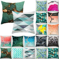 "Teal Blue & Green Geometric Cushion Covers 18"" 45 cm Pillow Case Home Sofa Decor"
