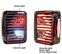 Xtreme Brake+Reverse+Turn Signal+LED Black Taillight For 07-18 Jeep JK Wrangler