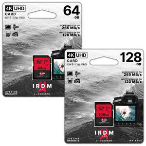 Speicherkarte 64/128 GB Card V60 Class 10 SD XC UHS-II U3 4K UHD