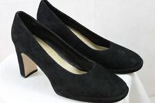 "Women's Apostrophe Black Suede Leather Slip on Casual Dress 3.5"" Heels Pumps 10M"