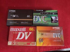 Lot Of (4) New Mini DV Digital Video Cassette 60 Min, Sealed, Maxell,  Fuji, tdk