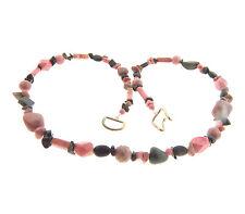 Pink Rhodonite Black Onyx Necklace Strand 10mm 22 Inch
