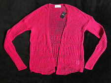 Hollister Bright Pink Soft Crochet Cardigan Sweater Size XS *NEW*