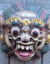 hand carved wooden white Barong ket wall mask leader of good spirits 195mmx175mm